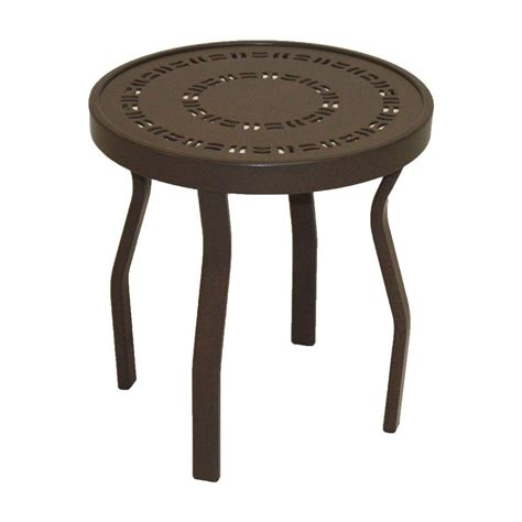 Outdoor Patio Side Table Marco Island 18 In Cafe Brown Commercial Aluminum Outdoor Patio Side Table P18pj R