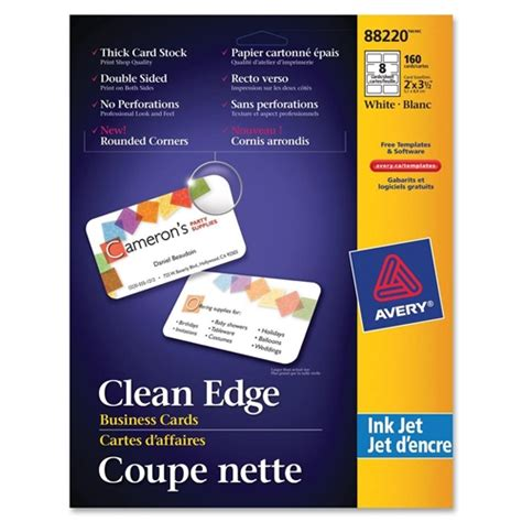 avery clean edge busines cards inkjet template avery clean edge 88220 business card island ink jet