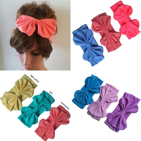 12pcs lot fashion womens fitness turban baby headband big hair bow toddler stretchy cotton