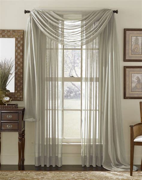 Gray Sheer Valance Grey Silver Scarf Sheer Voile Window Curtain Drapes