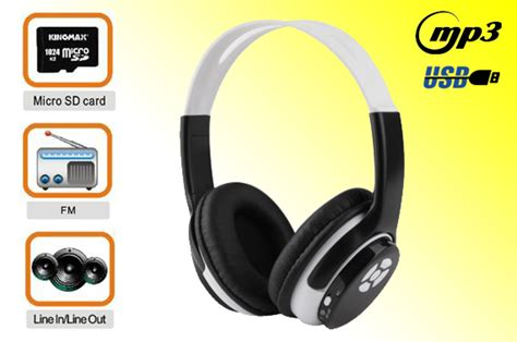 Headphone Mp3 Player Sd Card micro sd card wireless stereo mp3 player headphones with fm radio