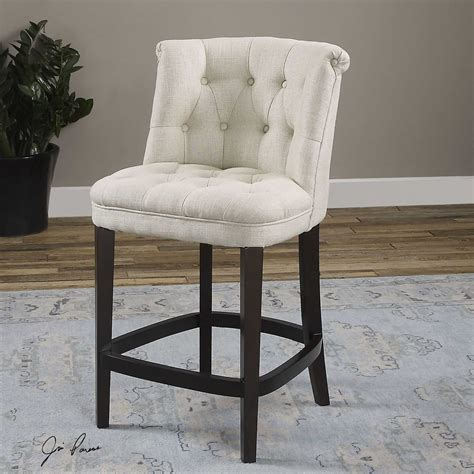 Tufted Counter Stool by Uttermost Kavanagh Tufted White Linen Counter Stool Ut23236