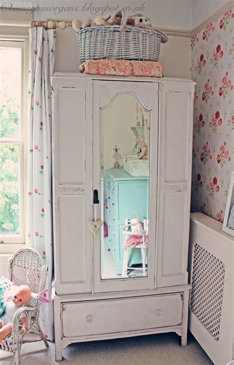 shabby chic vintage wardrobe with mirror in child s room