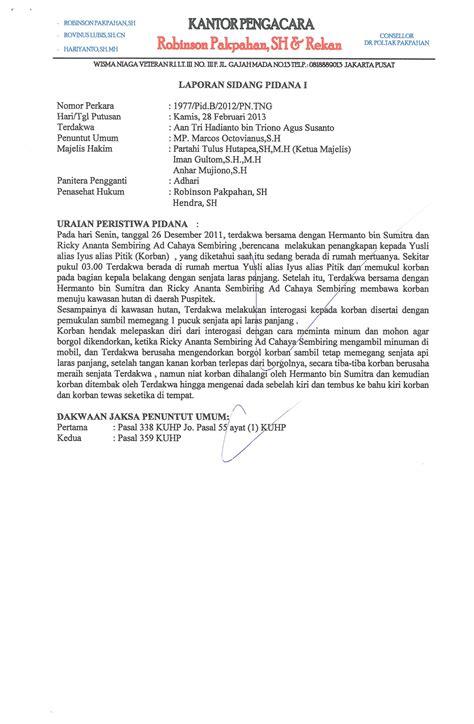 contoh format laporan berita contoh resume perkara pidana dan perdata