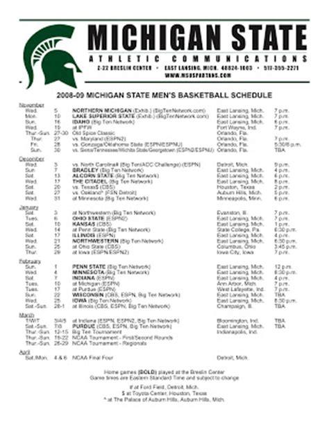 spartyoncom blog  michigan state spartan blog msu  spartan basketball schedule