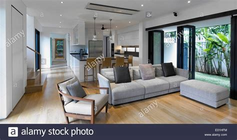 Open plan living room kitchen in modern House, Swiss Club
