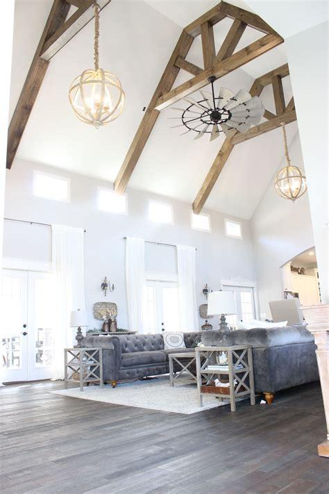 beams wooden beams living room living room ceiling fan