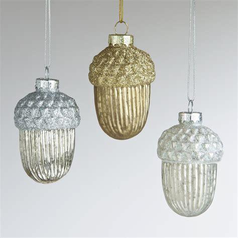 acorn ornaments mercury glass acorn ornaments set of 3 world market