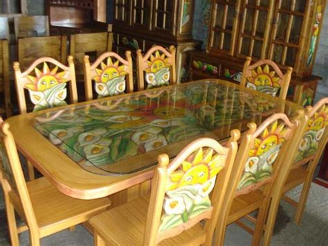 mexican painted dining set artsy furniture