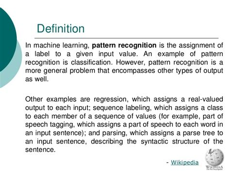 definition of pattern recognition system statistical classification a review on some techniques