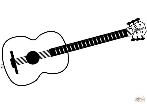 acoustic guitar coloring page hard colouring electric guitar at yescoloring printable