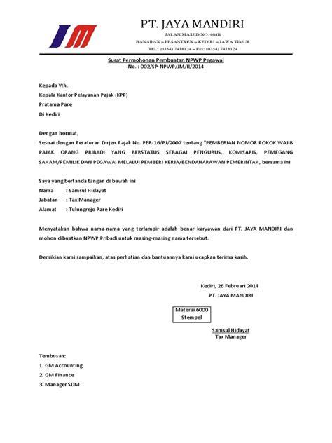 surat permohonan pembuatan npwp karyawan pdf