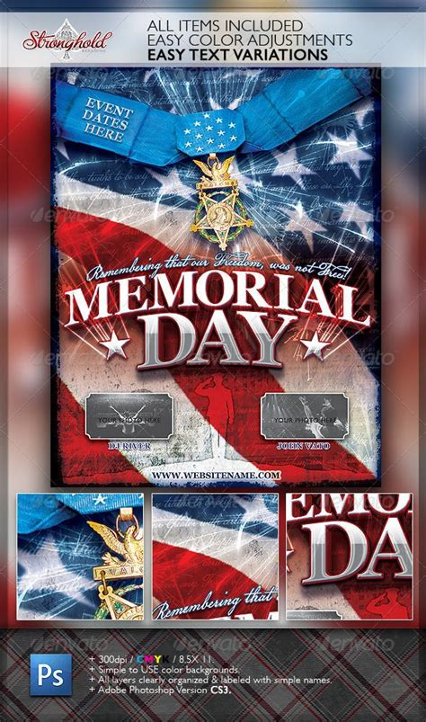 Memorial Day Flyer Template memorial day patriotic flyer template flyer template
