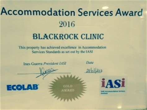 For Profesional Accommodation Services blackrock clinic announced as iasi 2016 gold standard award winner blackrock clinic