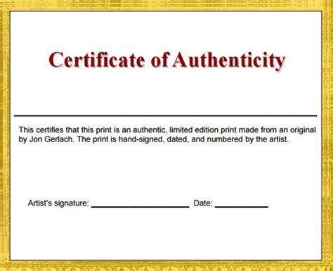 certificate of authenticity template word certificate template 30 free documents in pdf
