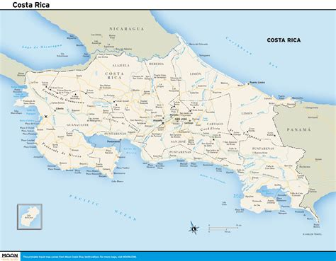 printable travel maps of costa rica moon travel guides