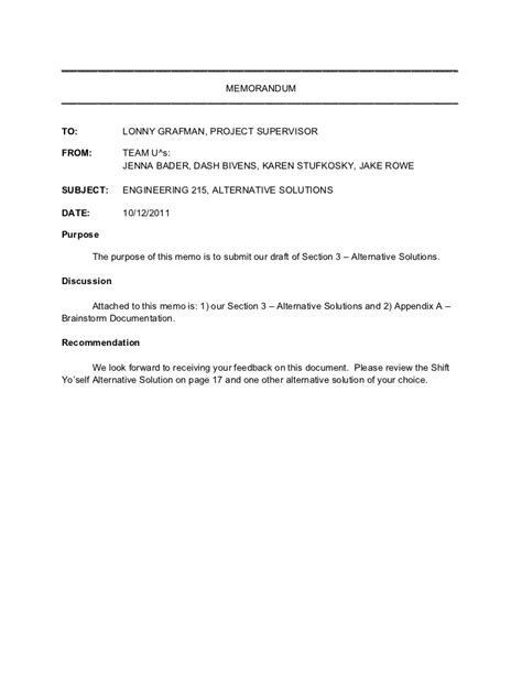 Cover Memo Template memo cover letter section 3 alternative solutions