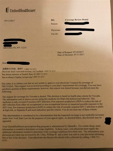 Appeal Letter Unitedhealthcare United Healthcare Discriminates Against Vulnerable Populations By Denying Prep Access News
