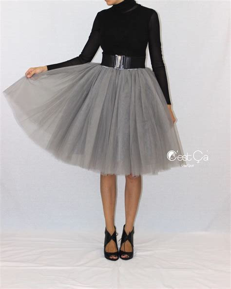 clarisa ash gray tulle skirt midi c est 199 a new york