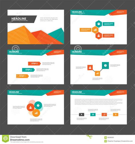 Abstract Green Orange Presentation Templates Infographic Elements Flat Design Set For Brochure Advertising Presentation Templates