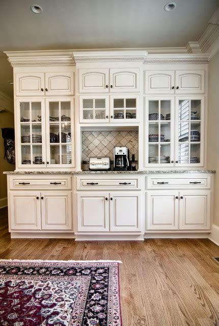 Kitchen Hutch Cabinets China Hutch With Painted Finish And Glazed Traditional Kitchen By Kirkland Custom Cabinets Inc