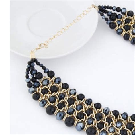 black beaded statement necklace 57 jewelry black beaded statement necklace from