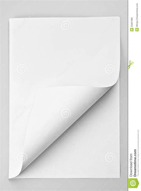 Folded Sheet Of Paper - folded sheet of paper with curled corner royalty free