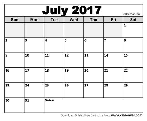 Calendar Printable 2017 Blank July 2017 Calendar Printable Template Social Ebuzz