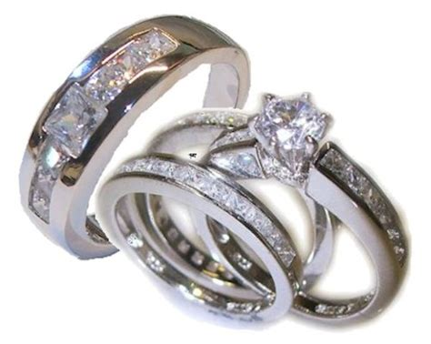 His Her 4 Piece Wedding Ring Set White Gold Ep Sterling
