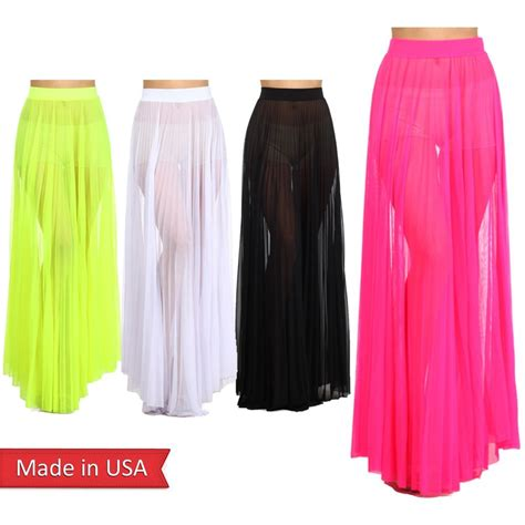 new trendy neon color mesh see through pleated a line high