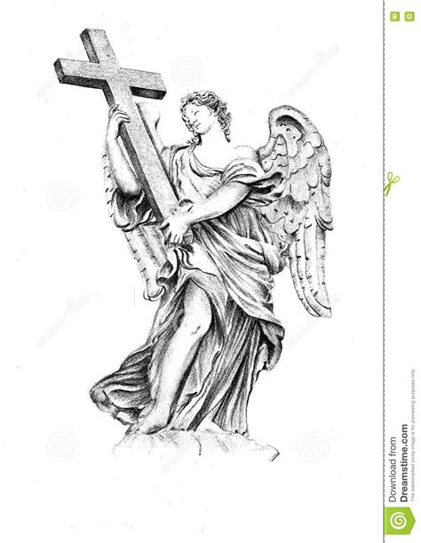 angel holding cross tattoo sculpture holding the cross stock illustration