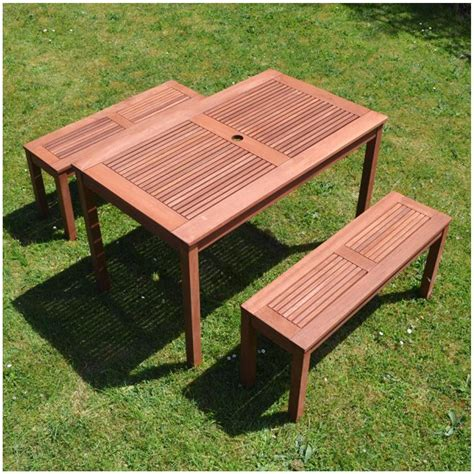 wooden outdoor table with bench seats great prices summer terrace helsinki table and bench set