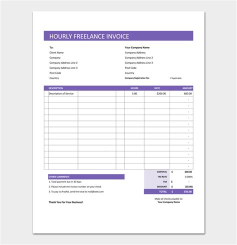 hourly invoice template freelance invoice template 5 for word excel pdf format