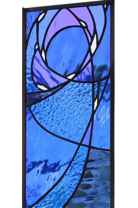 blue stained glass l stained glass window panel in blue night sky