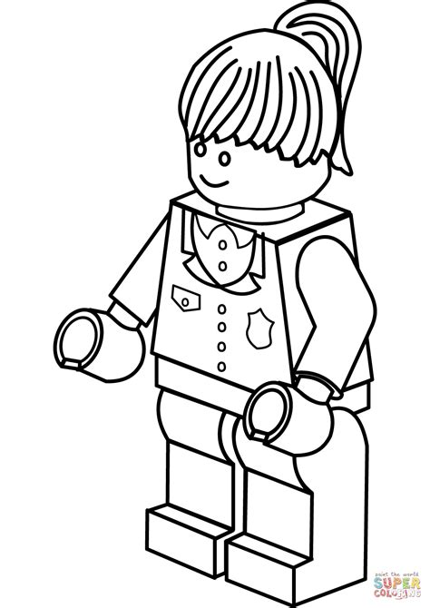 Lego Police Woman coloring page | Free Printable Coloring
