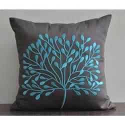 Teal borneo tree throw pillow cover 18 x 18 linen by kainkain photo