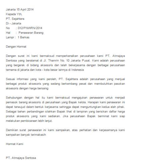 contoh beberapa surat penawaran barang dan jasa yang