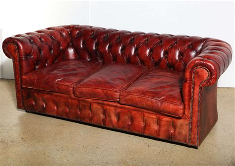Chesterfield Sofa Sleeper Mahogany Leather Chesterfield Sleeper Sofa And Loveseat At 1stdibs