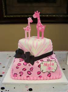 pink safari themed cake baby shower cakes