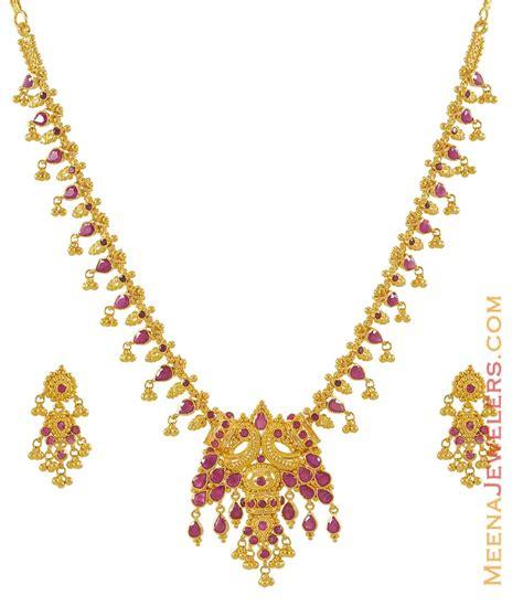 ruby necklace set 22k gold psru7591 22k gold