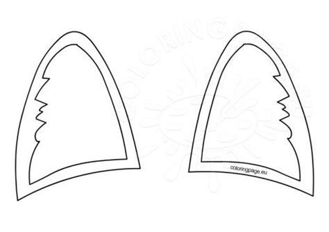 printable unicorn ear template coloring page