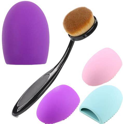 Pembersih Kuas Brush Cleanser Egg Cleanser 1set brush egg cleaner oval brush makeup set kit toothbrush foundation make up brushes cleansing