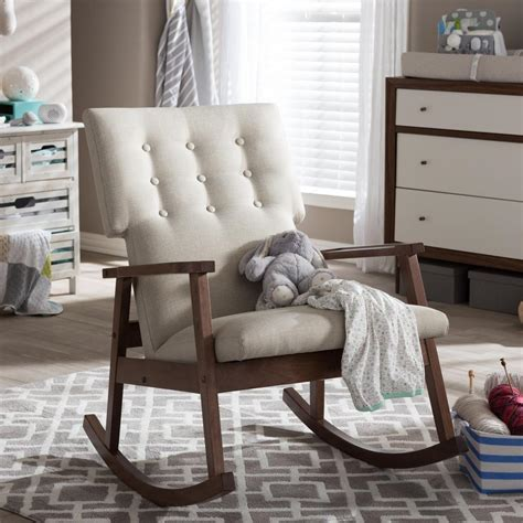 fabric rocking chairs living room baxton studio agatha mid century beige fabric upholstered rocking chair 28862 6763 hd the home