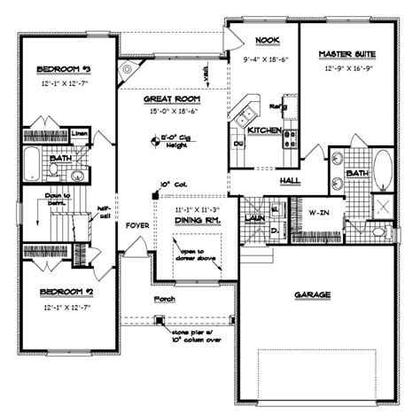 Open Split Floor Plans | open floor plan ranch ranch split bedroom floor plans with