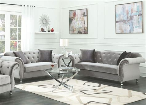 Frostine Silver Living Room Set From Coaster Coleman Furniture Living Room Sets 999