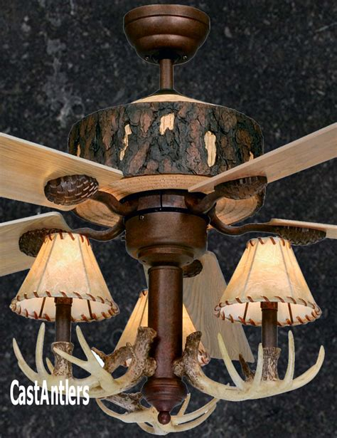 Antler Ceiling Fan With Light Standard Size Fans 52 Quot Rustic Faux Antler Ceiling Fan Rustic Lighting And Decor From Castantlers