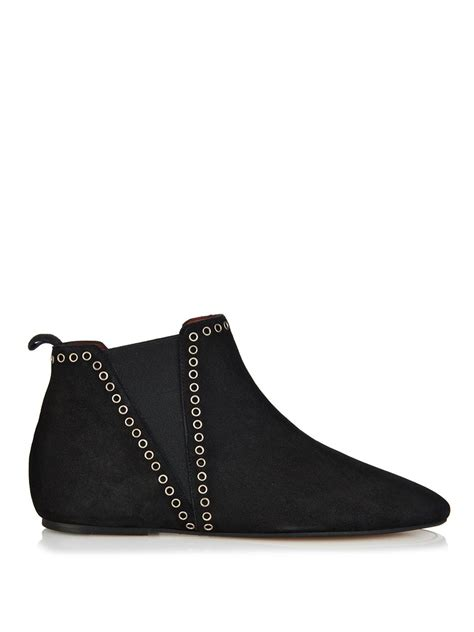 flat suede shoes marant lars flat suede boots in black lyst