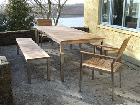 garden furniture bench set teak bench set the lombok teak and stainless steel bench set