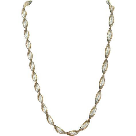 Necklace Silver vintage italian twisted silver vermeil necklace from