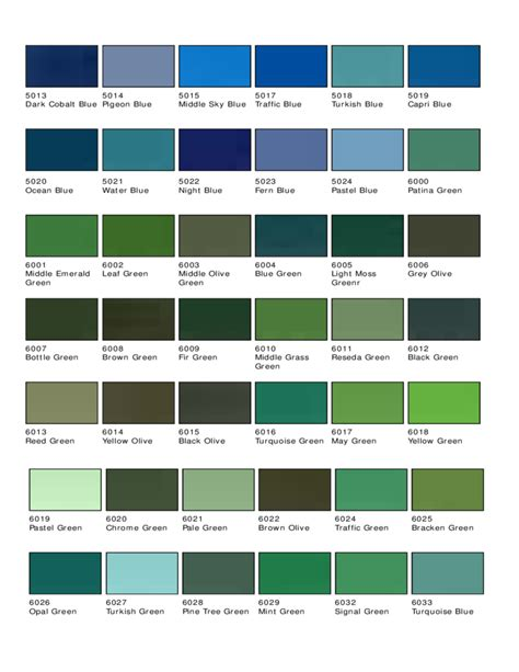 standard ral color chart free